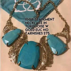 Kendra Scott Iggy necklace turquoise and gold
